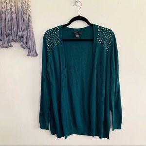 89th & Madison •emerald green embellished cardigan